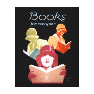 Books for Everyone Vintage Art Deco Library Ad Canvas Print