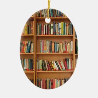 Books in the bookshelf ceramic ornament