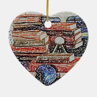 Books Learning Reading Teaching Education Ceramic Heart Decoration