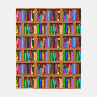 Books Library Bookshelf Pattern for Readers Fleece Blanket