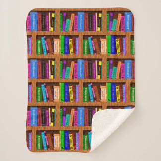 Books Library Bookshelf Pretty Pattern for Readers Sherpa Blanket