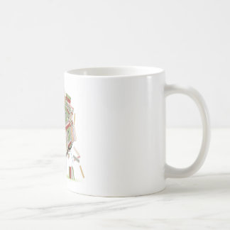 Books library on tree branches for your design basic white mug