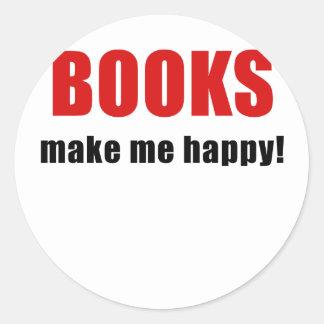 Books Make Me Happy Classic Round Sticker