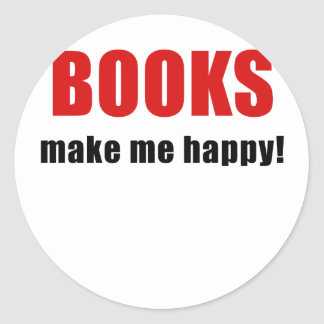 Books Make Me Happy Round Sticker