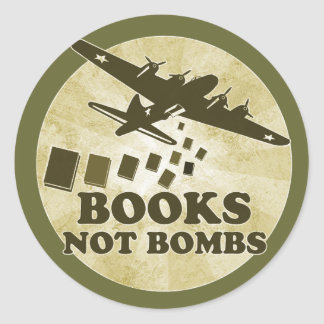 Books not Bombs Round Sticker