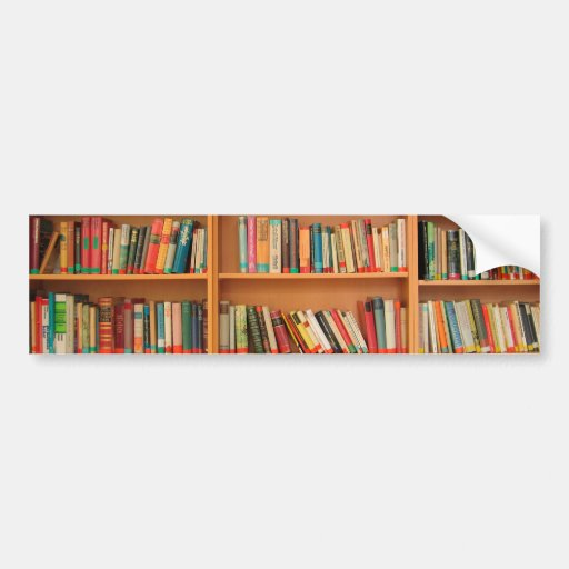 Books on Bookshelf Background Bumper Stickers
