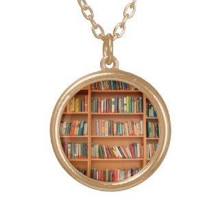 Books on Bookshelf Background Round Pendant Necklace