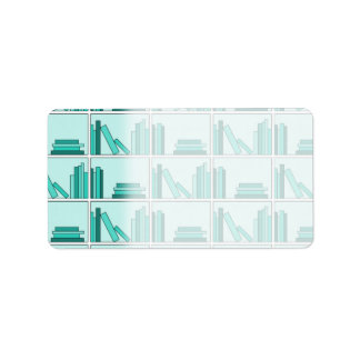 Books on Shelf. Design in Teal and Aqua. Address Label
