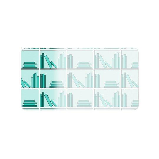 Books on Shelf. Design in Teal and Aqua. Label