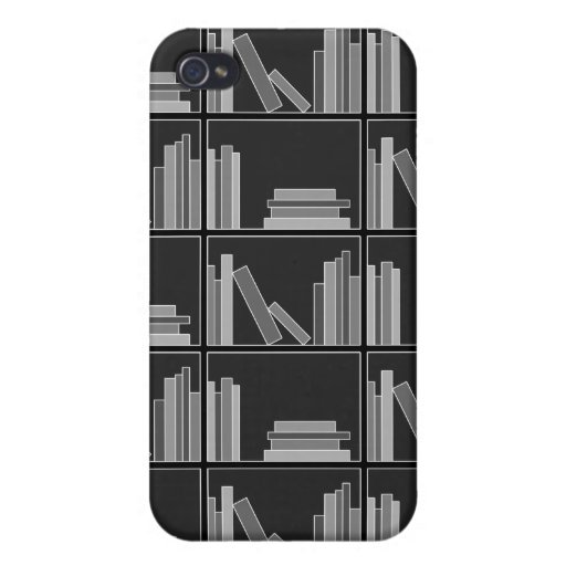 Books on Shelf. Gray, Black and White. iPhone 4 Cover