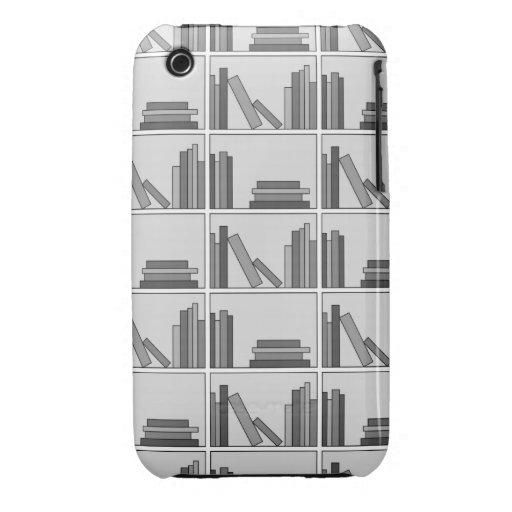 Books on Shelf. Monochrome. iPhone 3 Case