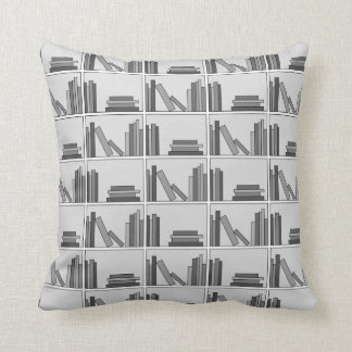 Books on Shelf. Monochrome. Cushion