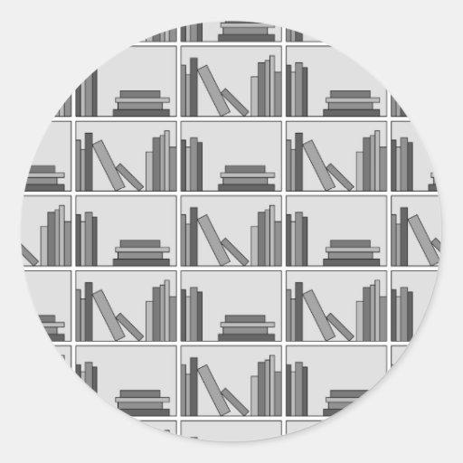 Books on Shelf. Monochrome. Round Stickers