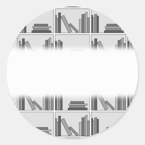 Books on Shelf. Monochrome. Stickers