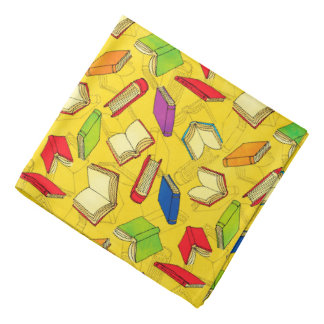 Books Pattern on Yellow Bandana