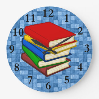 BOOKS STACKED LARGE CLOCK
