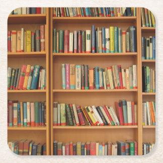 Bookshelf background square paper coaster