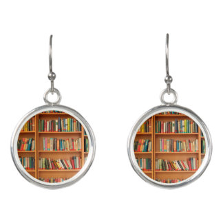 Bookshelf Books Library Bookworm Reading Earrings