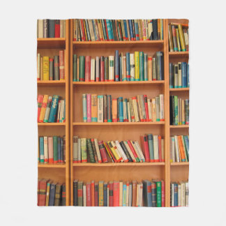 Bookshelf Books Library Bookworm Reading Fleece Blanket