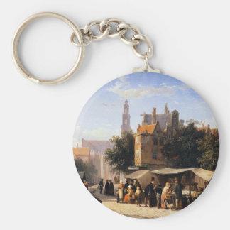 Bookstall on the Noordermarket by Cornelis Springe Basic Round Button Key Ring