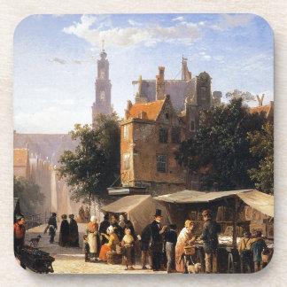 Bookstall on the Noordermarket by Cornelis Springe Beverage Coasters