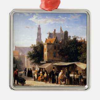 Bookstall on the Noordermarket by Cornelis Springe Silver-Colored Square Decoration