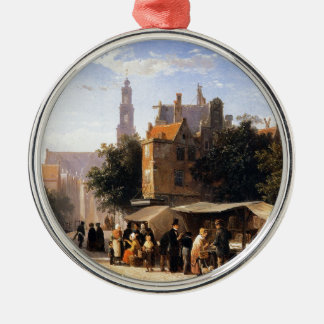 Bookstall on the Noordermarket by Cornelis Springe Silver-Colored Round Decoration