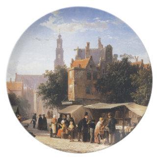 Bookstall on the Noordermarket by Cornelis Springe Dinner Plate