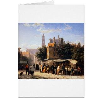 Bookstall on the Noordermarket by Cornelis Springe Greeting Card