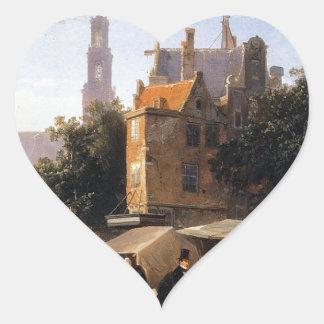 Bookstall on the Noordermarket by Cornelis Springe Heart Sticker