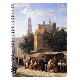Bookstall on the Noordermarket by Cornelis Springe Spiral Note Book