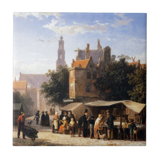 Bookstall on the Noordermarket by Cornelis Springe Small Square Tile