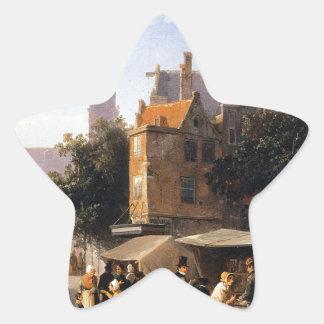 Bookstall on the Noordermarket by Cornelis Springe Star Sticker