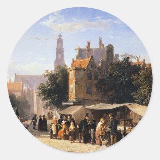 Bookstall on the Noordermarket by Cornelis Springe Round Sticker