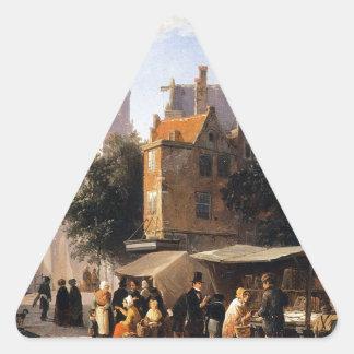 Bookstall on the Noordermarket by Cornelis Springe Triangle Sticker