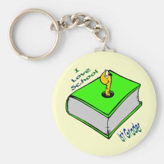 Bookworm 1st Grader - I love School Keychain