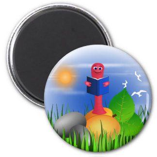Bookworm Book Worm Colorful Cute Round Magnet
