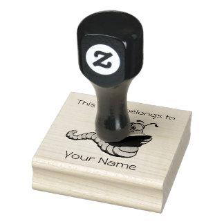 Bookworm Bookplate Design Wooden Stamp