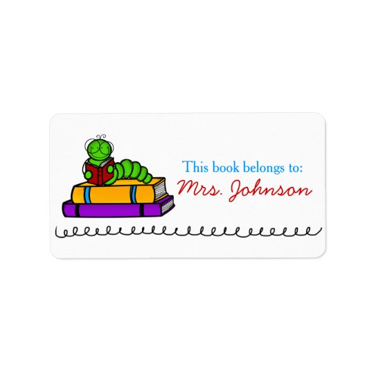 Bookworm Cute Teacher Book Labels