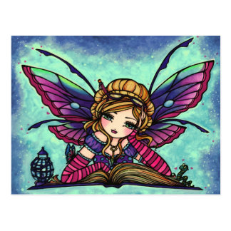 Bookworm Fairy Fantasy Art Postcard by Hannah Lynn