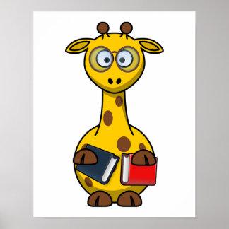 Bookworm Giraffe Art Poster
