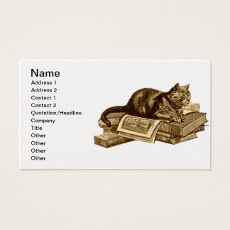 Bookworm Kitty Cat Reading Books Business Card