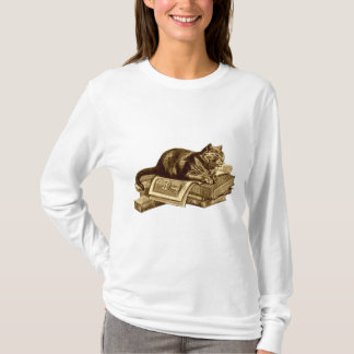Bookworm Kitty Cat Reading Books T-Shirt