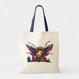 Bookworm Library Reading Book Fairy Fantasy Art Budget Tote Bag