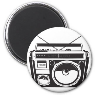 ☞ boom box Oldschool/cartridge player 6 Cm Round Magnet