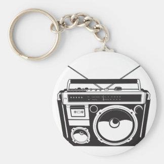 ☞ boom box Oldschool/cartridge player Basic Round Button Key Ring