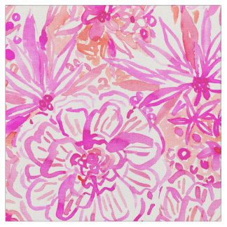 BOOM CLAP Pink Tropical Floral Watercolor Fabric