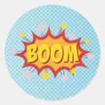 BOOM comic book sound effect Round Sticker