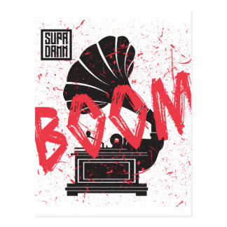 Boom Gramophone White Postcard