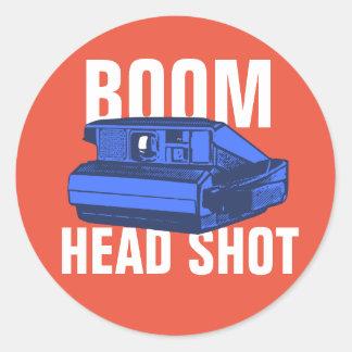 Boom Head Shot Round Sticker